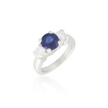 Three Stone Sapphire and Diamond Ring 5