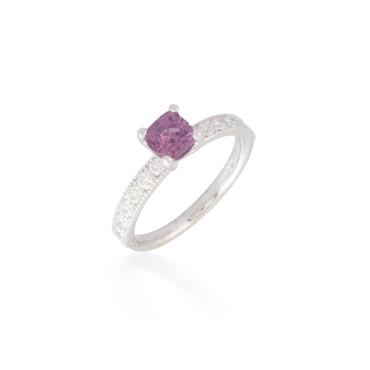 Cushion Pink Sapphire and Diamond Ring