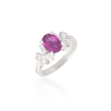 Pink Sapphire and Diamond Butterfly Ring