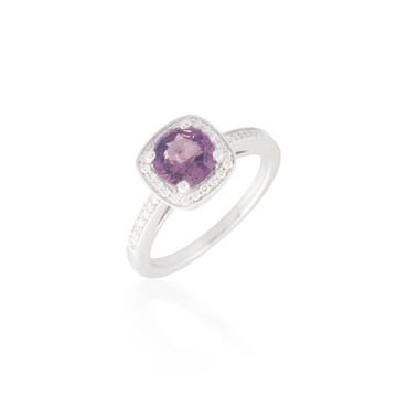 Round Pink Sapphire and Diamond Ring 2