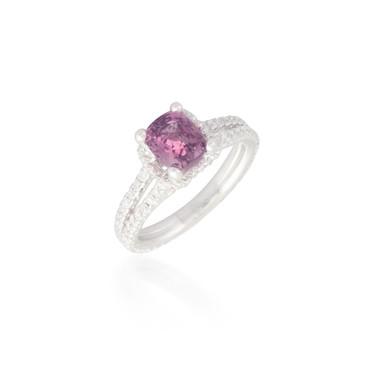 Cushion-cut Pink Sapphire and Diamond Ring