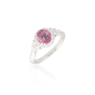Oval Pink Sapphire and Diamond Ring 3