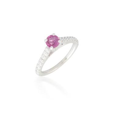 Round Pink Sapphire and Diamond Ring 3