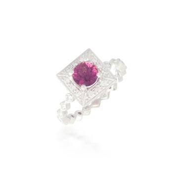 Round Pink Tourmaline and Diamond Ring