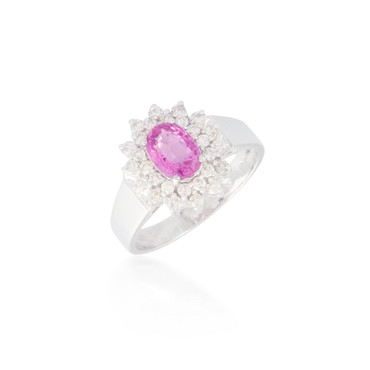 Round Pink Sapphire and Diamond Flower Halo Ring