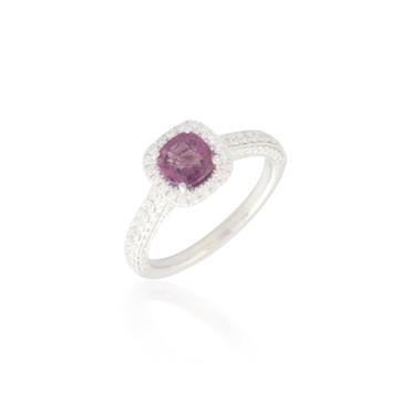 Cushion-cut Pink Sapphire and Diamond Ring 2