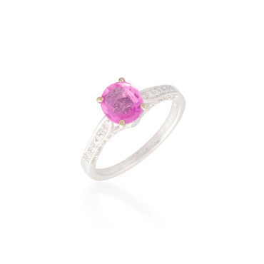Oval Pink Sapphire and Diamond Ring 4