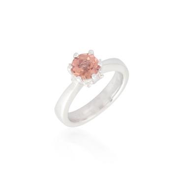 Round Orange Sapphire and Diamond Ring 2
