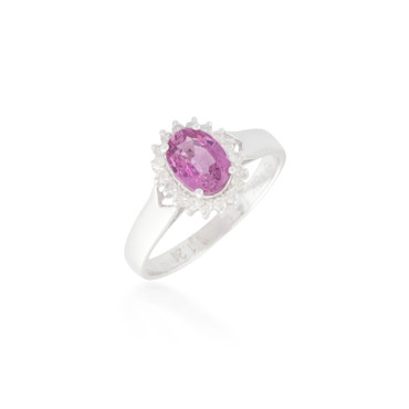 Oval Pink Sapphire and Diamond Flower Halo Ring