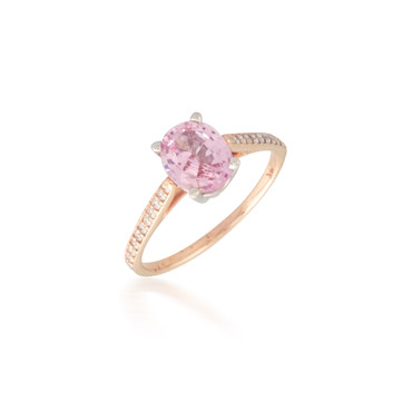 Two Tone Oval Pink Sapphire and Diamond Ring