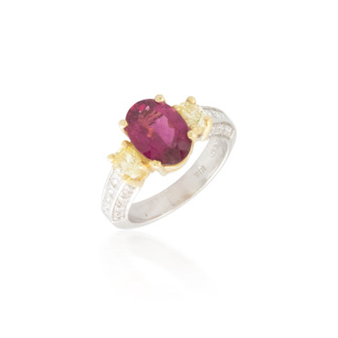 Two Tone Pink Tourmaline and Diamond Ring