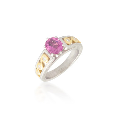 Two Tone Pink Sapphire and Diamond Ring