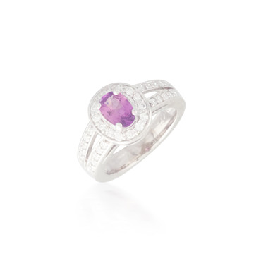 Oval Pink Sapphire and Diamond Ring 6
