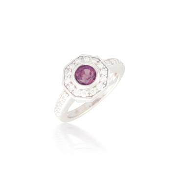 Round Pink Sapphire and Diamond Ring 5