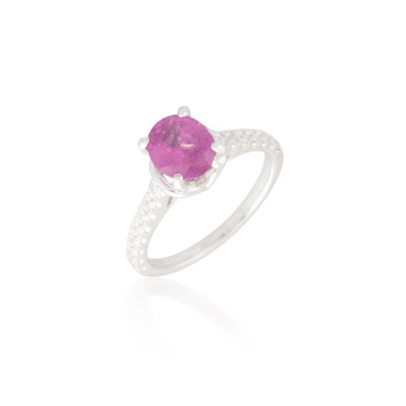 Oval Pink Sapphire and Diamond Ring 7