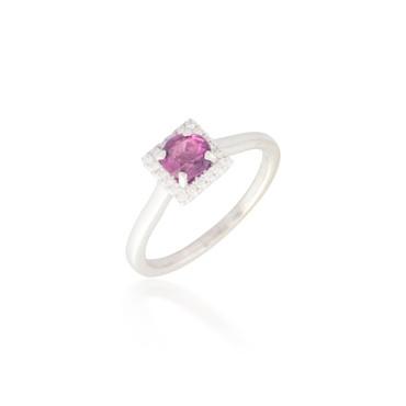 Round Pink Sapphire and Diamond Halo Ring