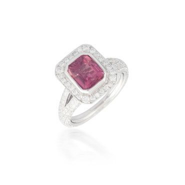Emerald-cut Pink Tourmaline and Diamond Ring