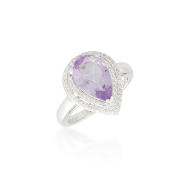 Double Diamond Halo with Pear Amethyst Ring