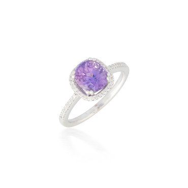Diamond Halo with Amethyst Ring