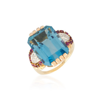 Huge Deep Blue Aquamarine Ring