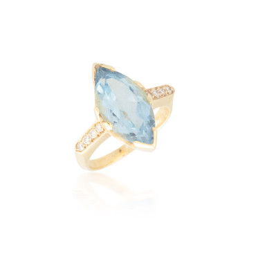 Huge Marquise Aquamarine Ring