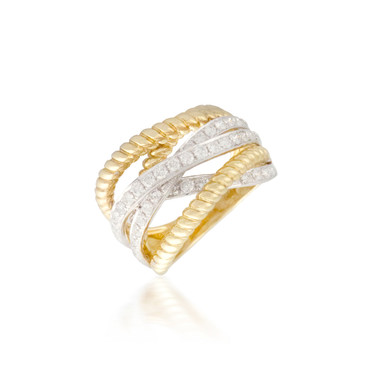 Intersecting two-tone diamond Band