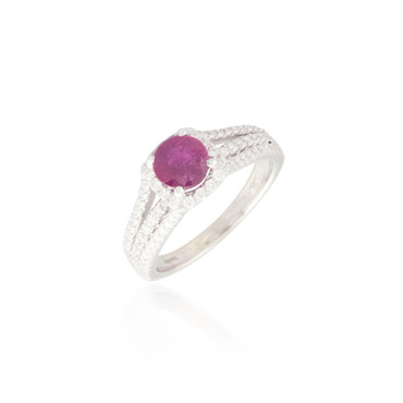 Round Ruby and Diamond Halo Ring 2