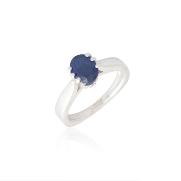 Six Prong Sapphire and Diamond Ring