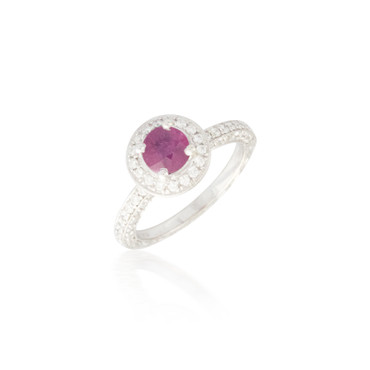 Round Ruby and Diamond Halo Engraved Ring