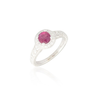 Round Ruby and Diamond Halo Engraved Ring 2