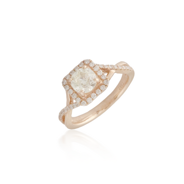 Rose Gold Crossover Diamond Ring