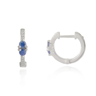 Round Sapphires White Gold Earring 2