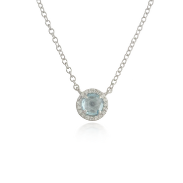 Blue Topaz White Gold Pendant