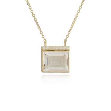 White Quartz Yellow Gold Pendant