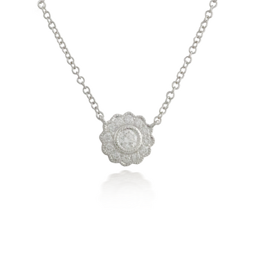 Flower White Gold Pendant