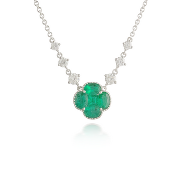 Flower Emerald White Gold Pendant
