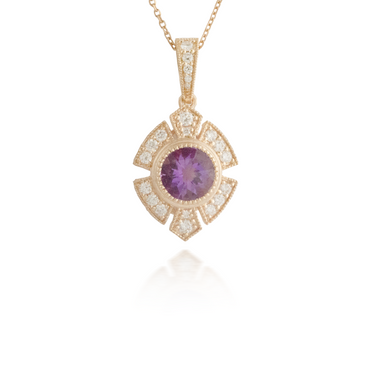 Large Amethyst Rose Gold Pendant