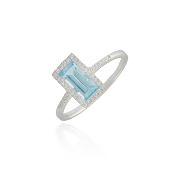 Large Rectangle Blue Topaz Ring