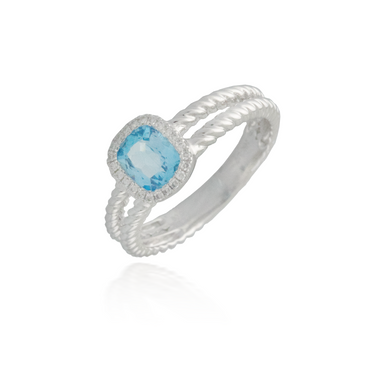 Blue Topaz White Gold Ring