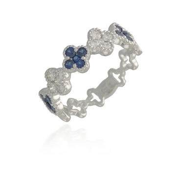 Flower White Gold Sapphire Band