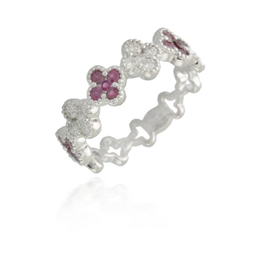 Flower White Gold Ruby Band