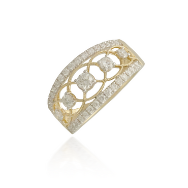 Three Stone Yellow Gold Wedding Band