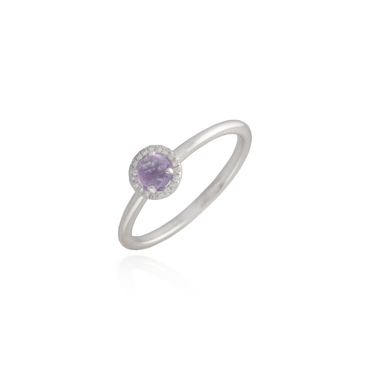 Amethyst White Gold Band