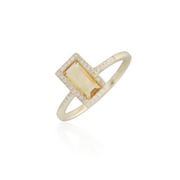 Large Rectangle Citrine Ring