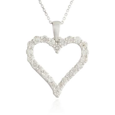 Large Heart White Gold Pendant