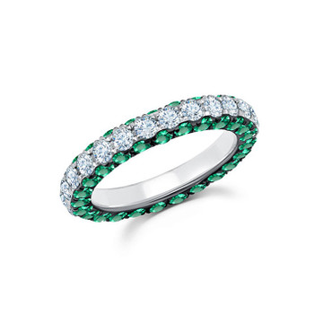 Graziela Emerald & Diamond 3 Sided Band Ring