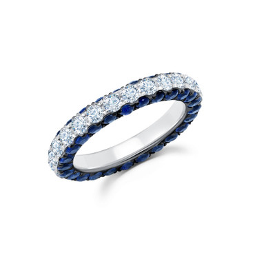 Graziela Sapphire & Diamond 3 Sided Band Ring