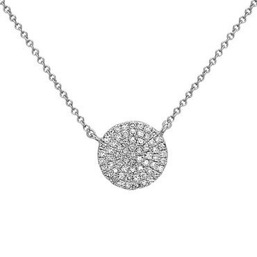 14K White Gold pave diamond tiny disc pendant