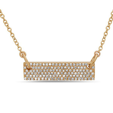 Bassali Shimmer Bar Necklace in 14k yellow gold