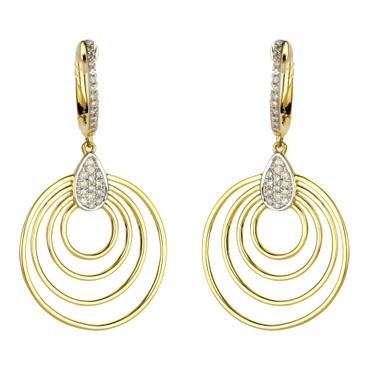 Madison L Concentric Circle Diamond Drop Earrings